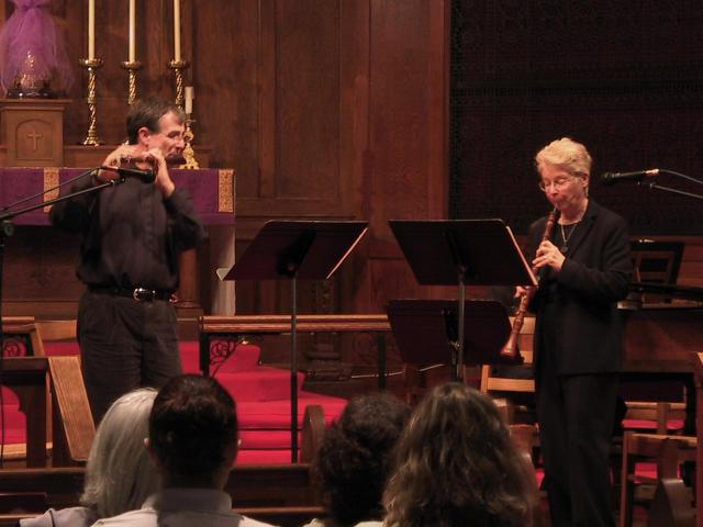 Lee Lattimore, Baroque flute and Sara Funkhouser, Baroque oboe [The Wireless Consort Recorder Quartet concert at Christ Episcopal Church - Dallas, TX, March 28, 2004]