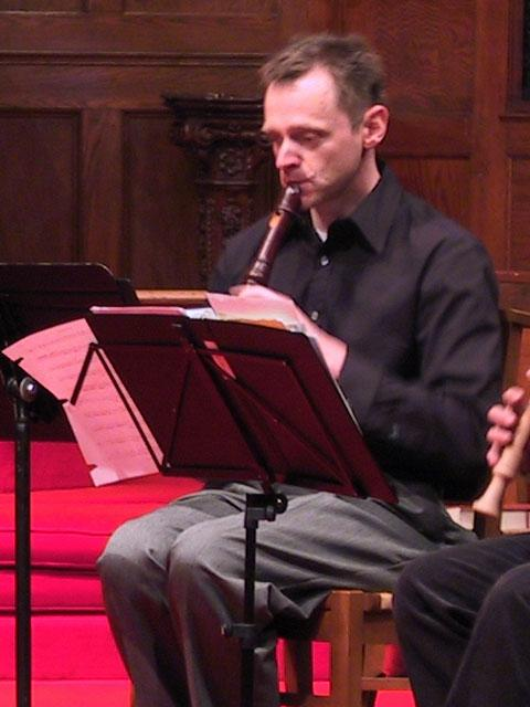 Cornell Kinderknecht playing the alto recorder [The Wireless Consort Recorder Quartet concert at Christ Episcopal Church - Dallas, TX, March 28, 2004]