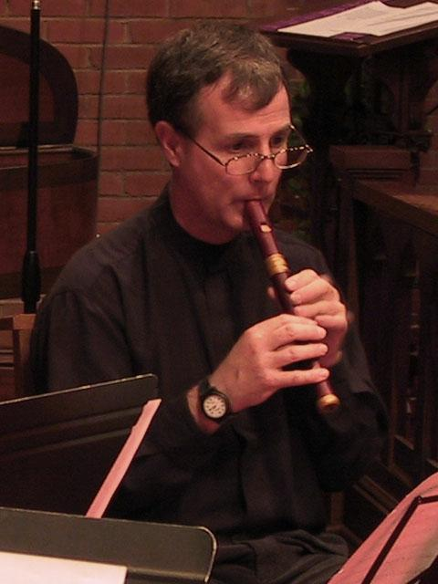 Lee Lattimore playing the soprano recorder [The Wireless Consort Recorder Quartet concert at Christ Episcopal Church - Dallas, TX, March 28, 2004]