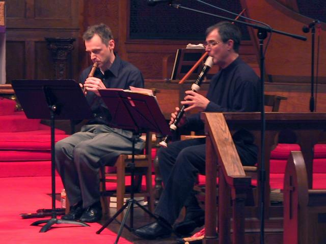 Cornell Kinderknecht, soprano recorder and Lee Lattimore, tenor recorder. [The Wireless Consort Recorder Quartet concert at Christ Episcopal Church - Dallas, TX, March 28, 2004]